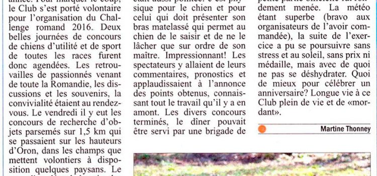 "Article ""Le Courrier"" sur le Challenge Romand 2016"